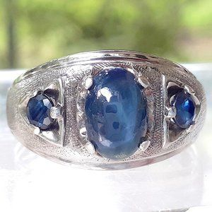 Men's 925 Sterling Blue Star Sapphire Ring